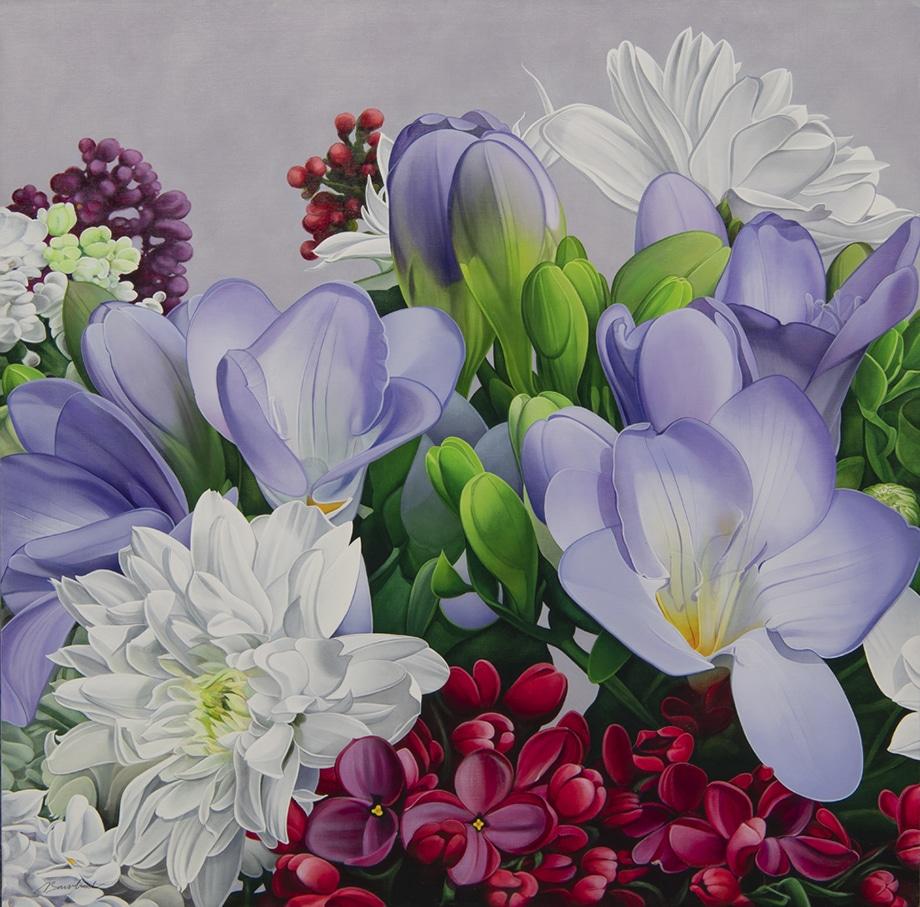 10. Chrysanthemes, Freesias et Lila - AST - 110 x 110 cm