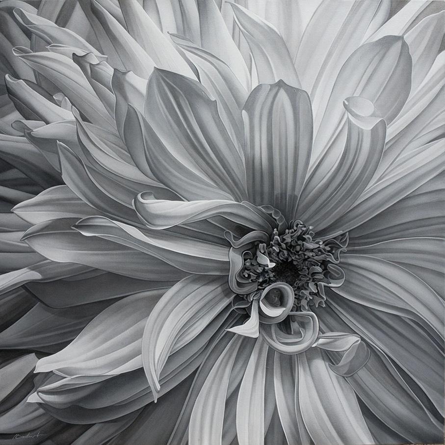 6. Cœur de Dahlia NB - Gal. Daniel Besseiche - AST - 110 x 110 cm